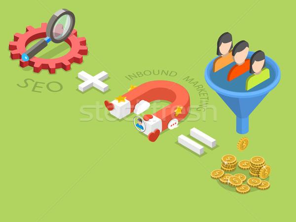 SEO plus inbound marketing flat isometric vector. Stock photo © TarikVision