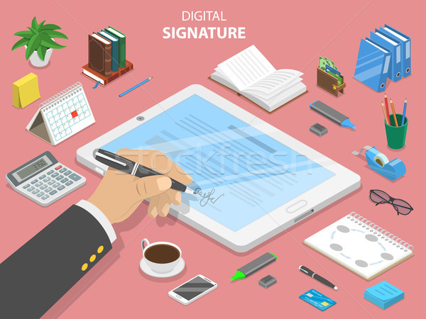 Digital signature flat isometric vector concept. Stock photo © TarikVision