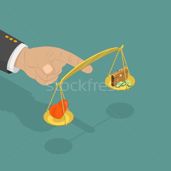 Leven evenwicht isometrische vector groot hand Stockfoto © TarikVision