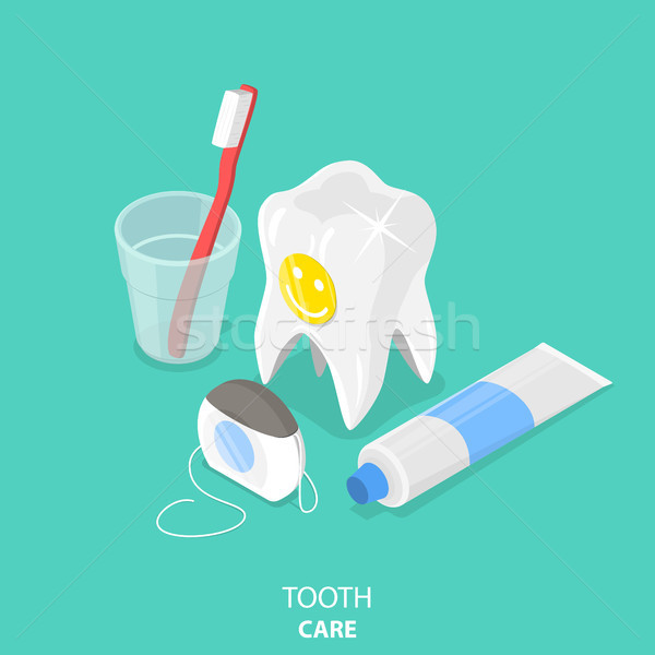 Tooth care flat isometric vector. Stock photo © TarikVision