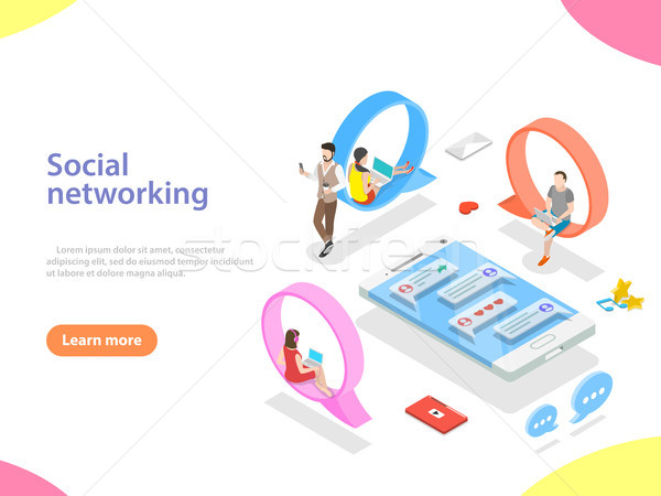 Social media netwerk isometrische vector digitale communicatie Stockfoto © TarikVision
