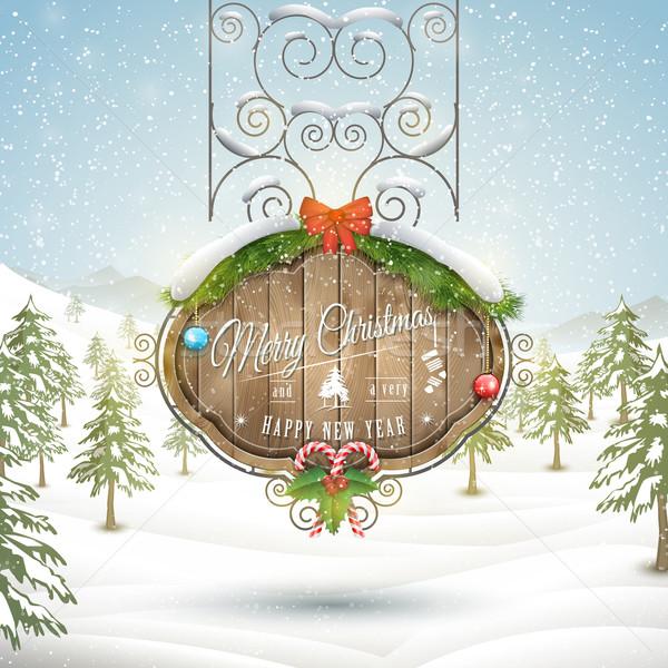 装飾された クリスマス ボード 木板 挨拶 陽気な ストックフォト © TarikVision