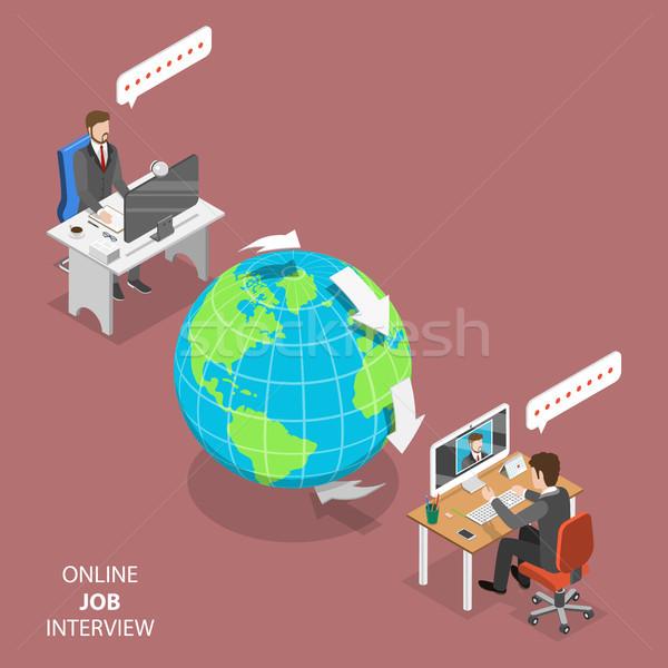 Online job interview flat isometric vector. Stock photo © TarikVision