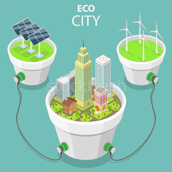 Eco city flat isometric vector concept illustration. Stock photo © TarikVision