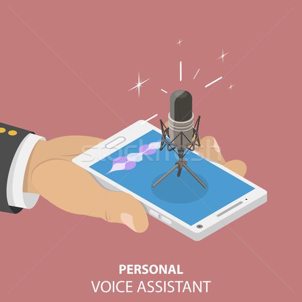 Personnelles voix isométrique vecteur assistant reconnaissance Photo stock © TarikVision