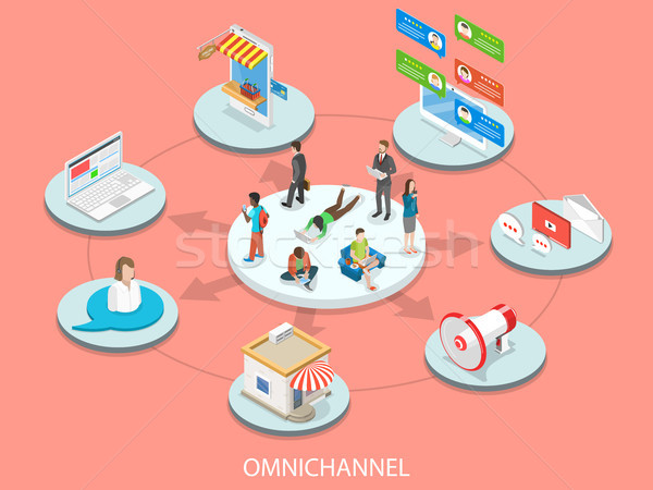 Omnichannel flat isometric vector concept. Stock photo © TarikVision