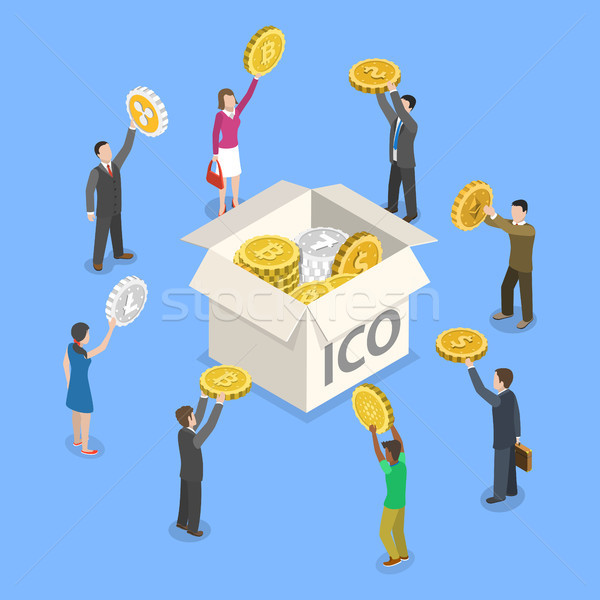 ICO flat isometric vector concept. Stock photo © TarikVision