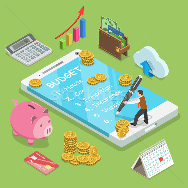 Online familie budget isometrische vector man Stockfoto © TarikVision