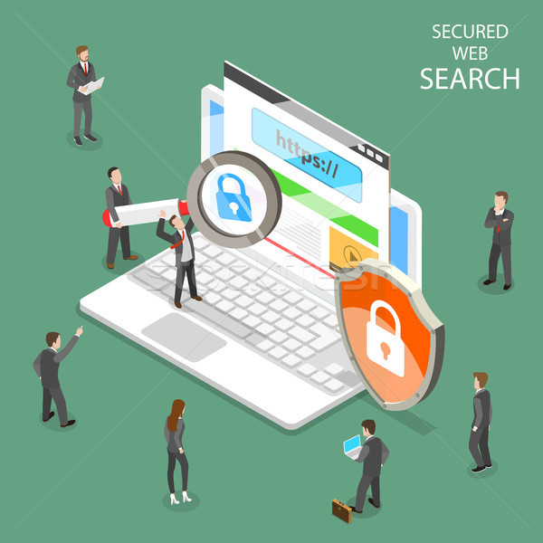 Secure web search flat isometric vector. Stock photo © TarikVision