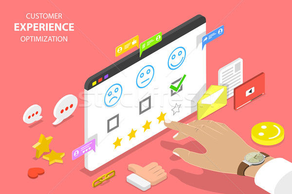 Customer experience optimization isometric flat vector concept. Stock photo © TarikVision