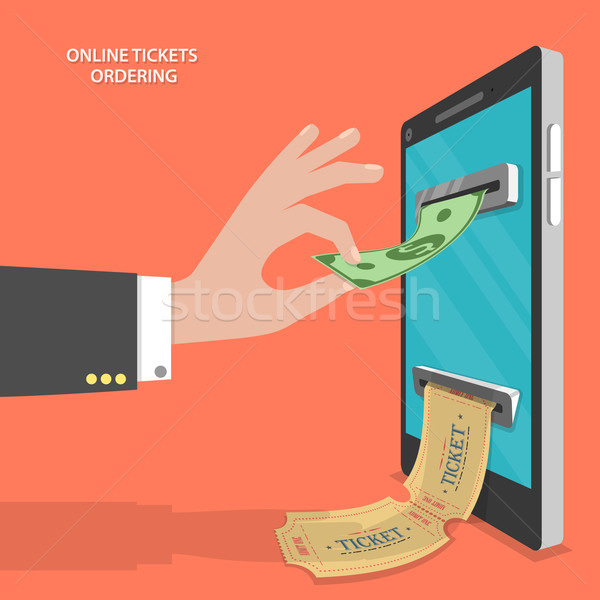 Online tickets ordering flat vector concept. Stock photo © TarikVision