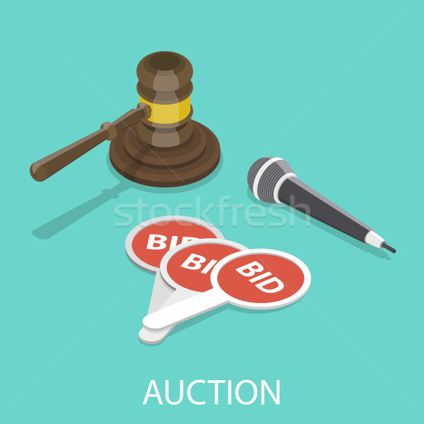 Stock photo: Auction flat isometric vector concept.