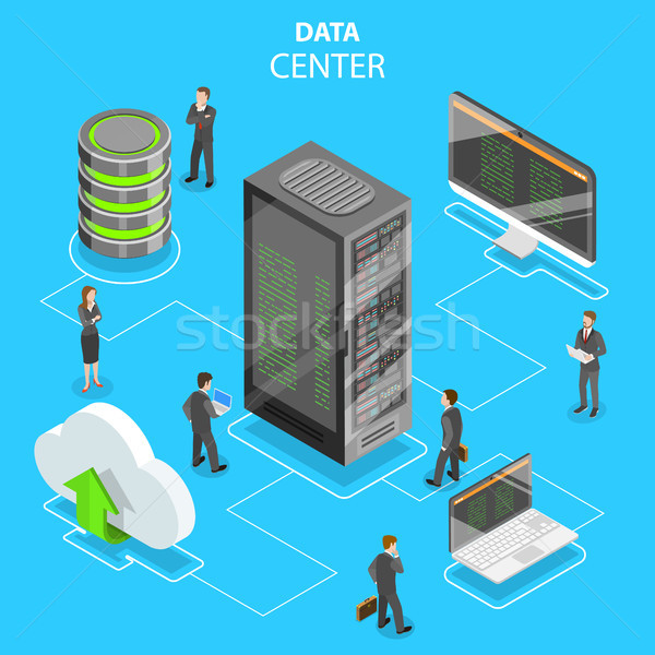 Data center flat isometric vector concept. Stock photo © TarikVision