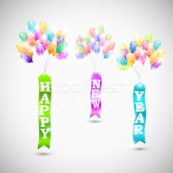 Happy new year ribbons with air bubbles Stock photo © TarikVision