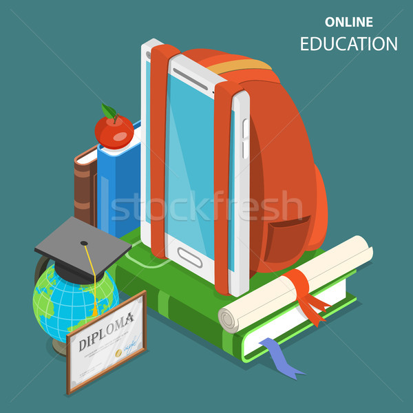 Online education flat isometric low poly vector concept Stock photo © TarikVision
