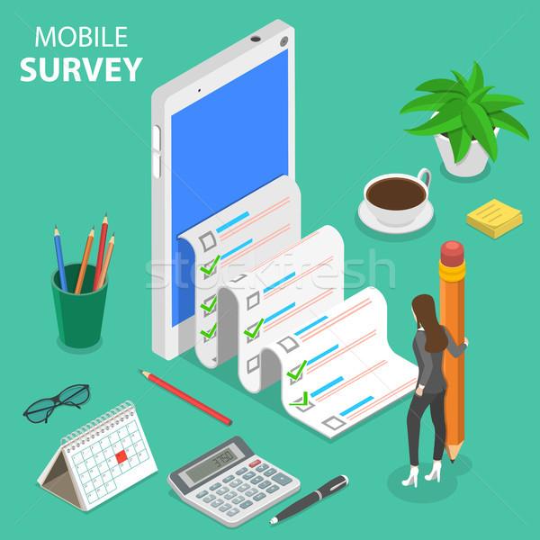 Mobile survey flat isometric vector concept. Stock photo © TarikVision