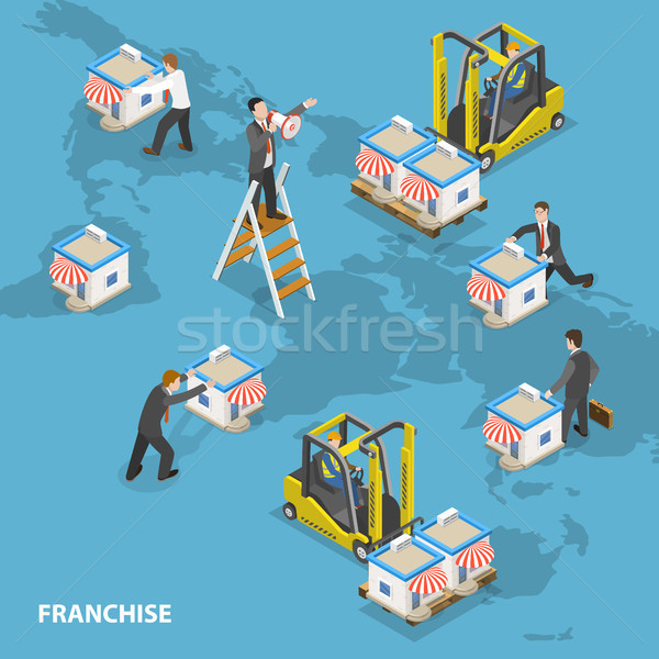 Franchise flat isometric vector concept. Stock photo © TarikVision