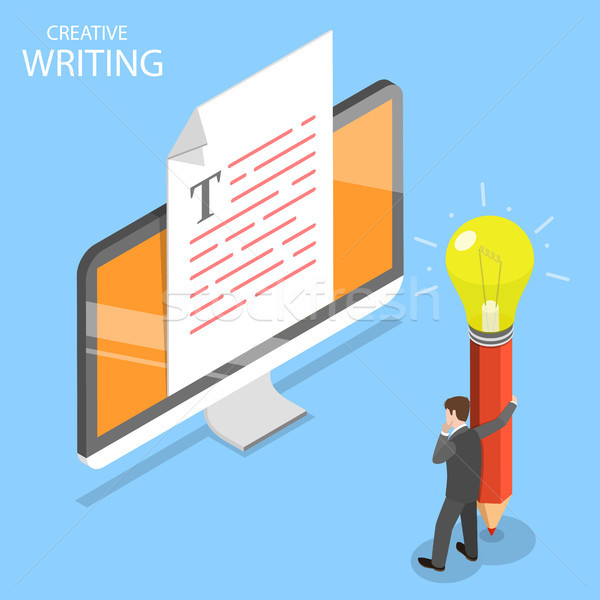 Creative writing flat isometric vector concept. Stock photo © TarikVision