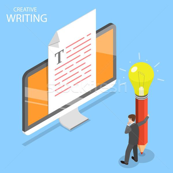 Criador escrita isométrica vetor conteúdo negócio Foto stock © TarikVision