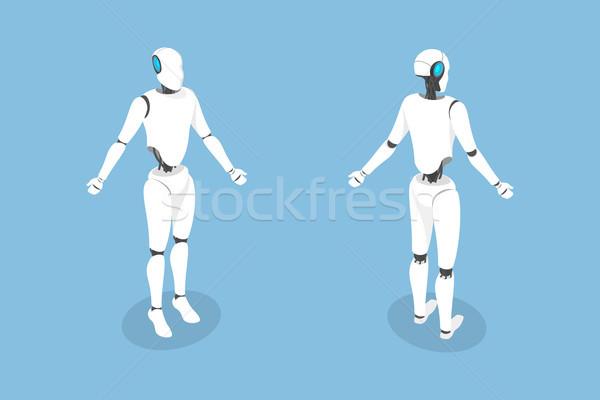 Stock photo: Cyborg flat isometric vector illustration.