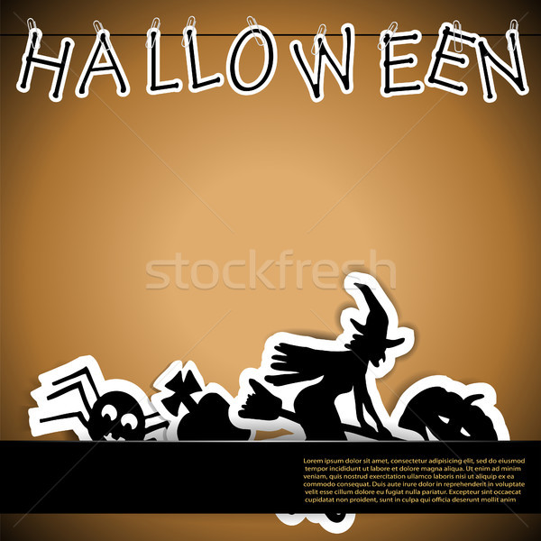 Stock photo: Halloween card with stickers vector illustration