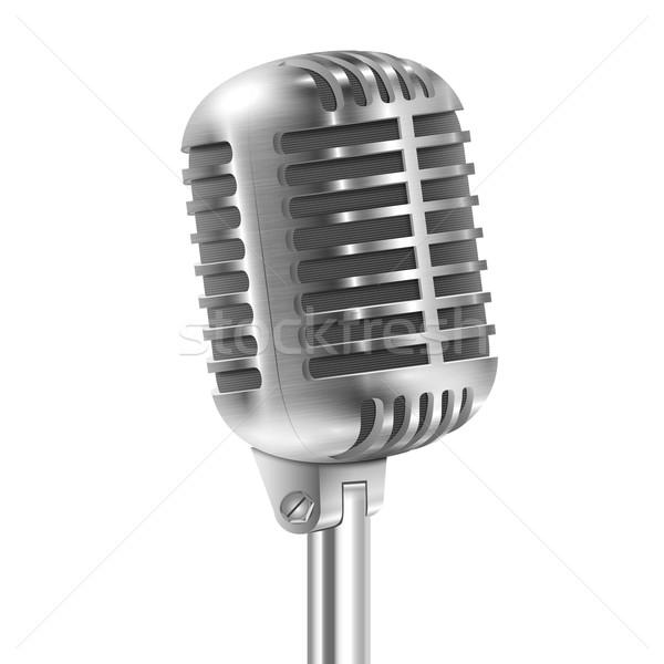 Stockfoto: Geïsoleerd · witte · metalen · retro · microfoon · muziek