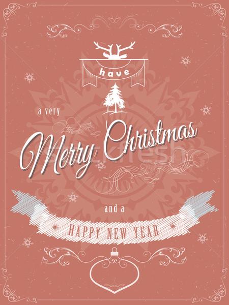 Christmas groet wenskaart sjabloon vrolijk gelukkig nieuwjaar Stockfoto © TarikVision