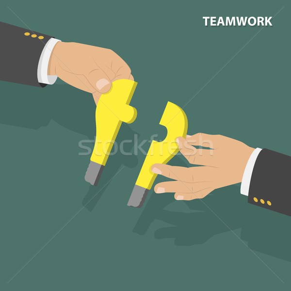 Trabalho em equipe isométrica baixo vetor dois mãos Foto stock © TarikVision