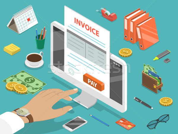 Invoice flat isometric vector concept. Stock photo © TarikVision
