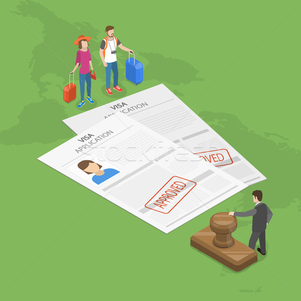 Visa application flat isometric vector concept. Stock photo © TarikVision