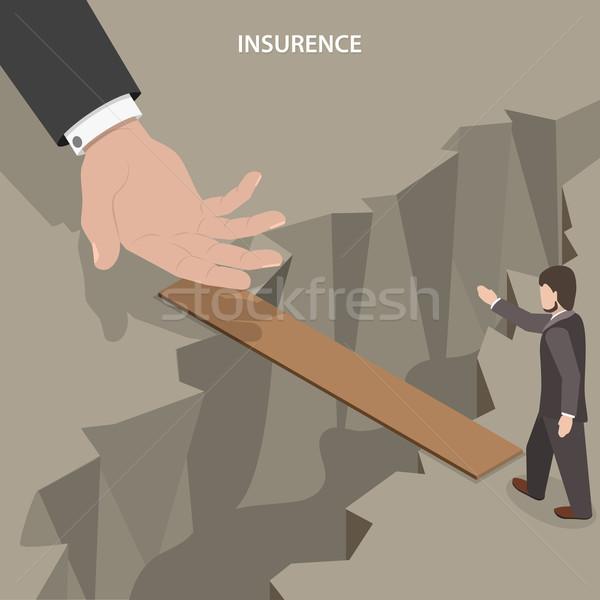Assurance isométrique vecteur coup de main homme aider Photo stock © TarikVision