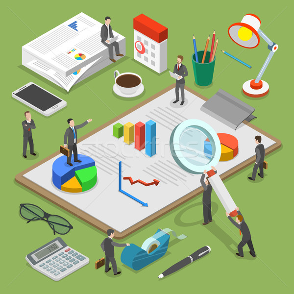 Financial audit flat isometric vector concept. Stock photo © TarikVision