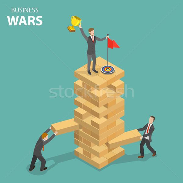 Business war flat isometric vector concept. Stock photo © TarikVision