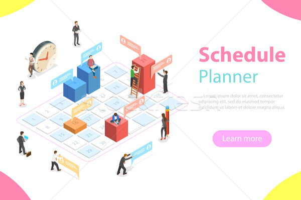 Schedule planner flat isometric vector concept. Stock photo © TarikVision
