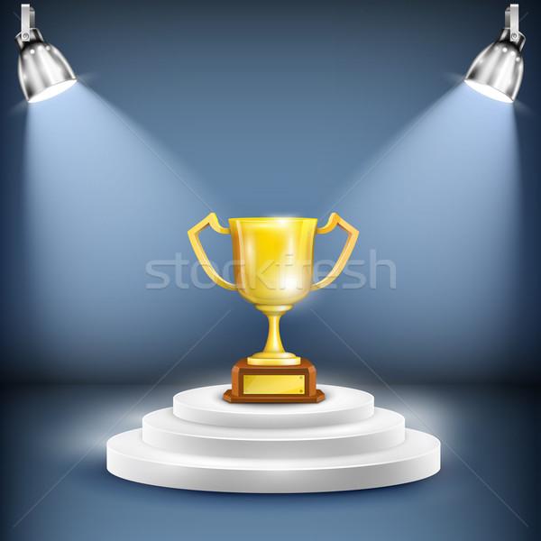 Podium trofee beker metaal succes Stockfoto © TarikVision