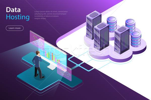 Server hosting flat isometric vector concept. Stock photo © TarikVision
