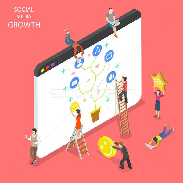 Isometrische vector social media groei netwerken Stockfoto © TarikVision