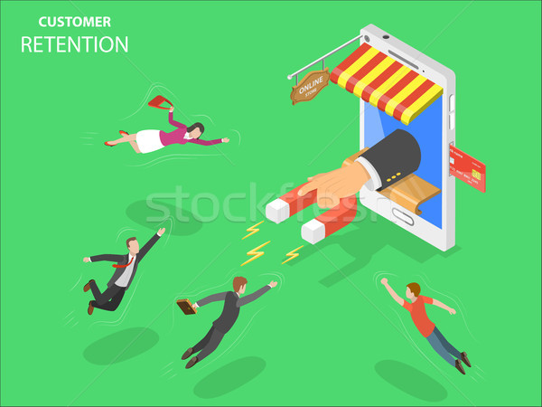 Online store customer retention isometric vector. Stock photo © TarikVision