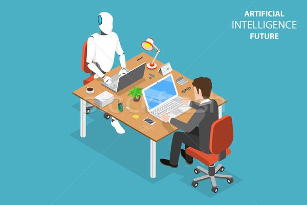 Toekomst isometrische vector robot menselijke samenwerking Stockfoto © TarikVision