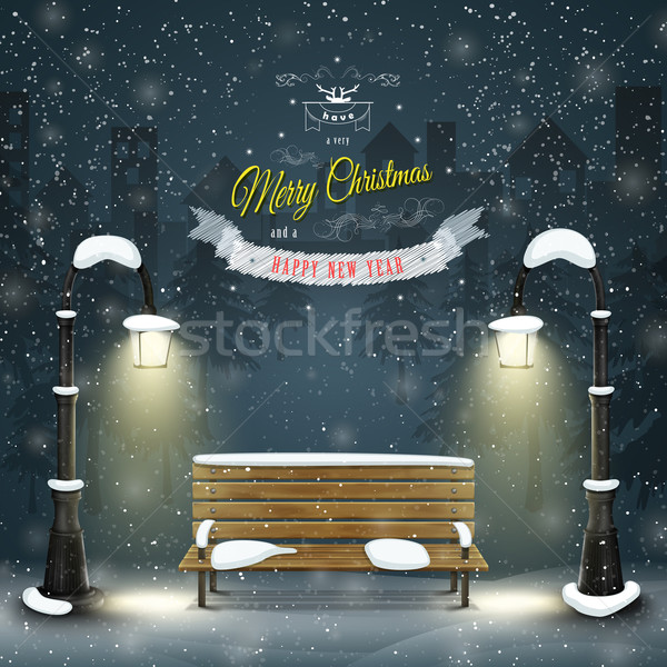 Decorated Christmas board vector illustration.  Stock photo © TarikVision