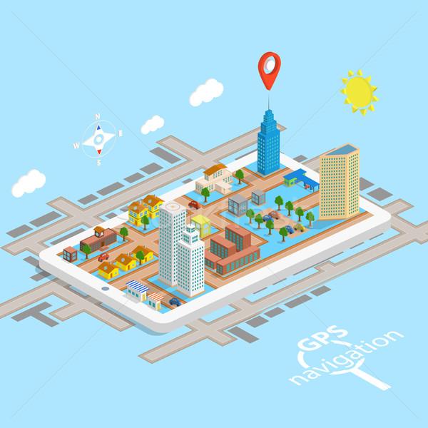GPS komórkowych nawigacja izometryczny Pokaż samochodu Zdjęcia stock © TarikVision