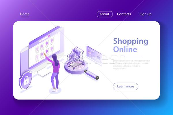 Winkelen online isometrische vector online winkelen ecommerce Stockfoto © TarikVision