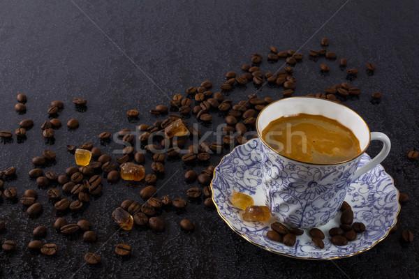 Fincan güçlü kahve esmer şeker sabah kahve molası Stok fotoğraf © TasiPas