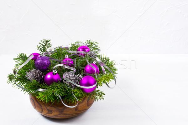 Natale glitter viola copiare tavola Foto d'archivio © TasiPas