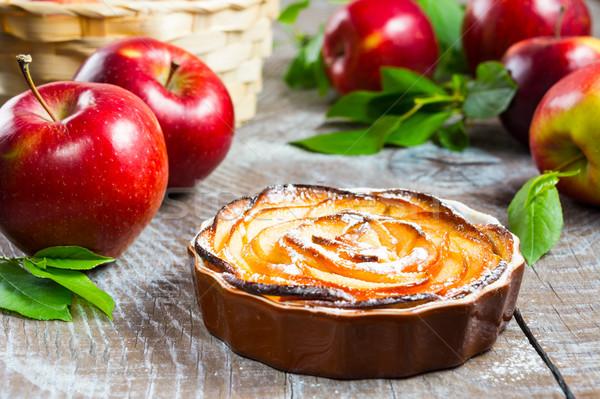 Puff apple shaped roses pie Stock photo © TasiPas