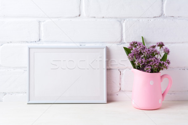 Stock photo: White landscape frame mockup with purple flowers in polka dot pi