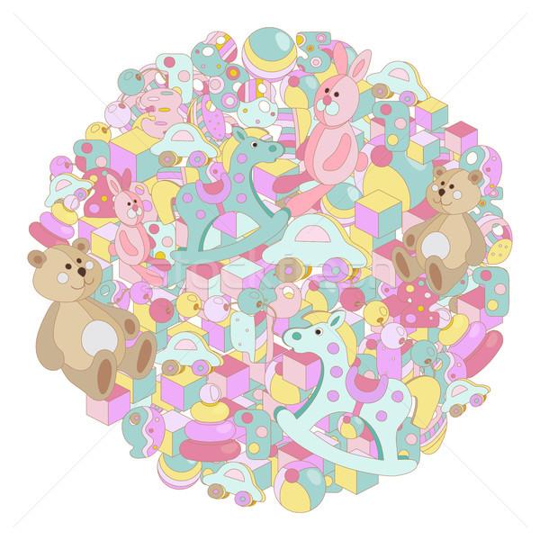 Pastel desenho animado bebê brinquedo quadro Foto stock © TasiPas
