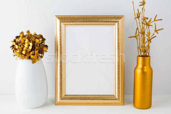 Foto stock: Quadro · dourado · vaso · cartaz · produto