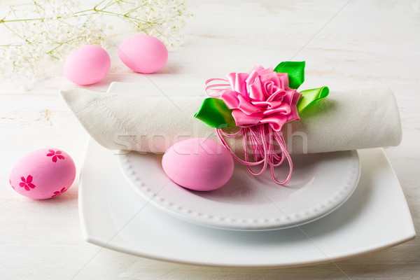 Pink Easter table place setting Stock photo © TasiPas