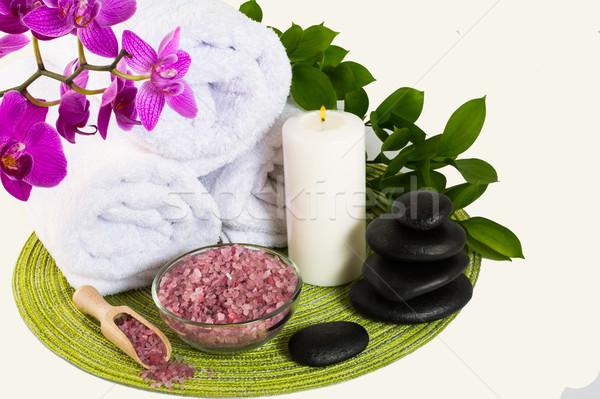 Estância termal produto rosa sal do mar tratamento de spa massagem Foto stock © TasiPas